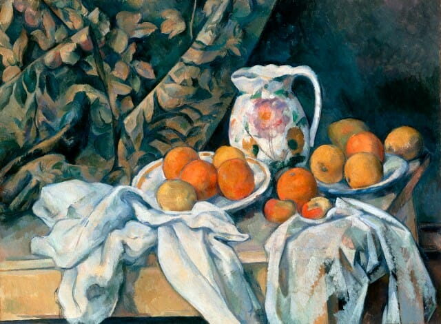 Still Life with a Curtain by Paul Cezanne