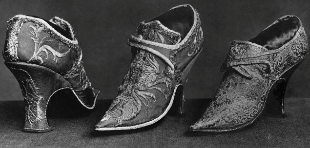 Women's shoes from Reign of Louis XV, 1699, France, Paris, Cluny Museum