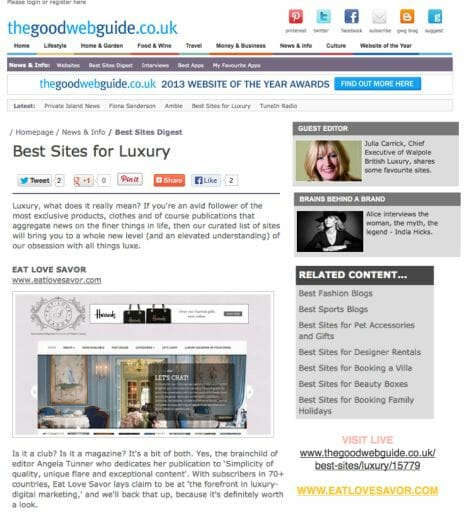 """best sites for luxury EAT LOVE SAVOR Eat Love Savor Magazine Selected one of the """"Best Sites for Luxury"""" - EAT LOVE SAVOR International Luxury Lifestyle Magazine"""