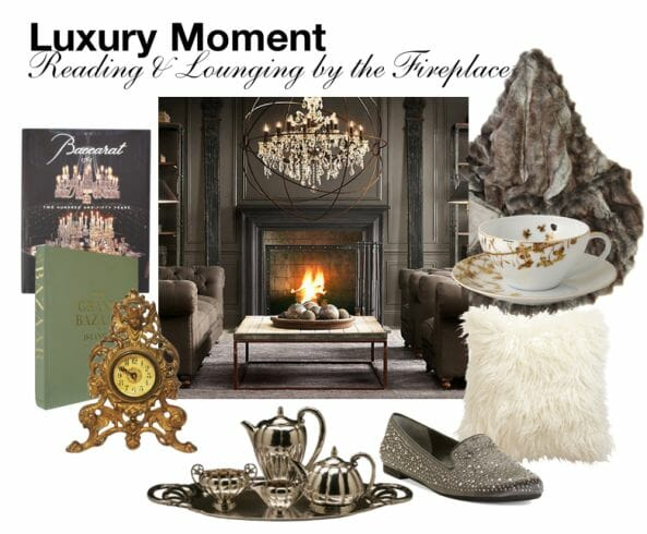 reading nad lounging by the fireplace eat love savor luxury moment