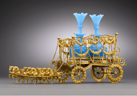 Blue Opaline an Dore Bronze Carriage Liqueur rau Luxury Home: Add Luxury Sparkle and Shine to your Fine Table with Stunning Antiques - EAT LOVE SAVOR International luxury lifestyle magazine and bookazines