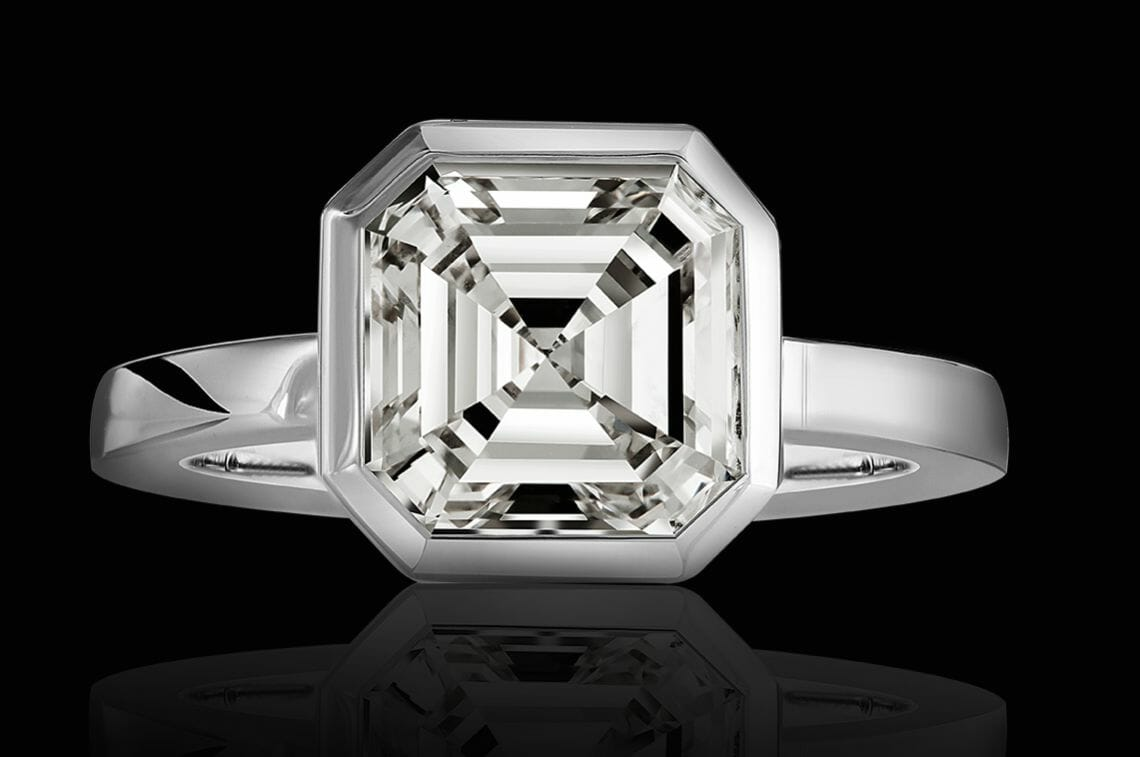 vision in white selected jewelers black back Stunning 5.04 Carat Asscher® Cut Diamond 'Vision in White' Selected Jewels Ring Dazzles - EAT LOVE SAVOR International Luxury Lifestyle Magazine