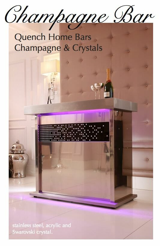 quench champagne bar Champagne Forever: Crystal Covered Champagne Bar + Selection of Flutes and Ice Buckets - EAT LOVE SAVOR International luxury lifestyle magazine, bookazines & luxury community