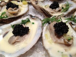 Caviar poached oysters