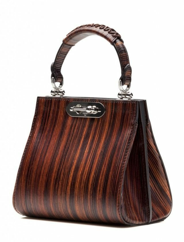 BERTONI1949 MINI DORIANA WOOD LEATHER TOP HANDLE