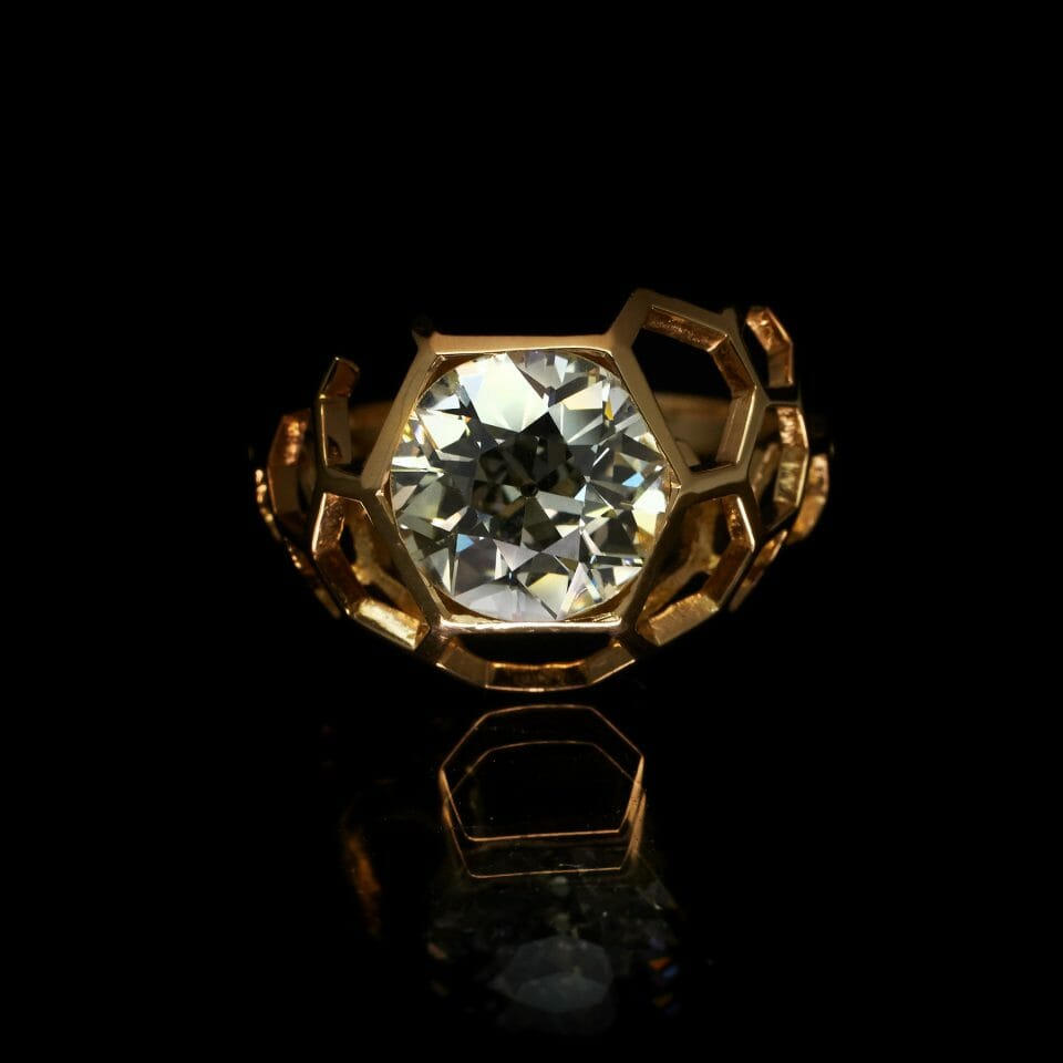 Antique diamond & 18ct rose gold Digital Nature engagement ring, and fitted wedding ring £16,500