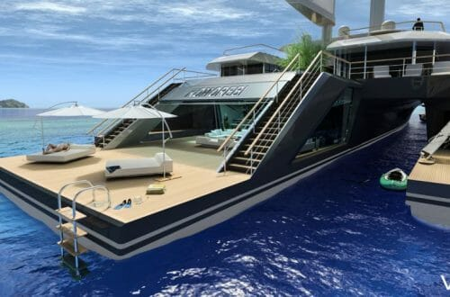 KOMOREBI exterior rear Discover: VPLP Naval Architects and Concept Superyacht Hybrid KOMOREBI Inspired by Nature - EAT LOVE SAVOR International luxury lifestyle magazine, bookazines & luxury community