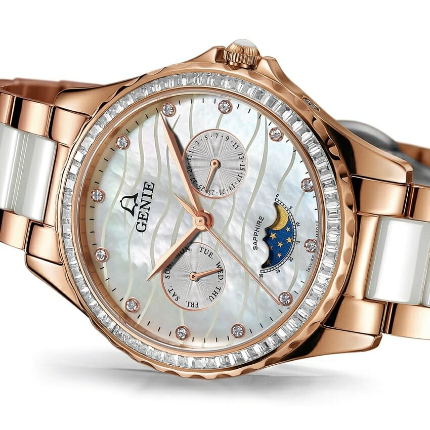 genie mother of pearl watch