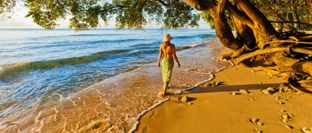 woman on beach in barbados