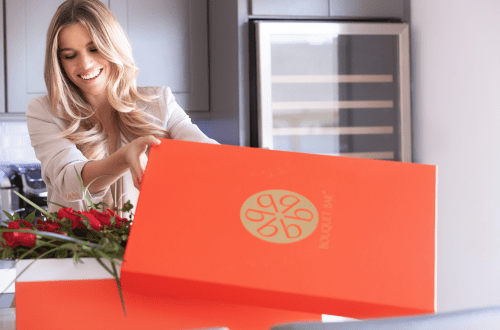Bouquet box woman opening Give the Gift of a Luxury Floral Box - EAT LOVE SAVOR International luxury lifestyle magazine, bookazines & luxury community
