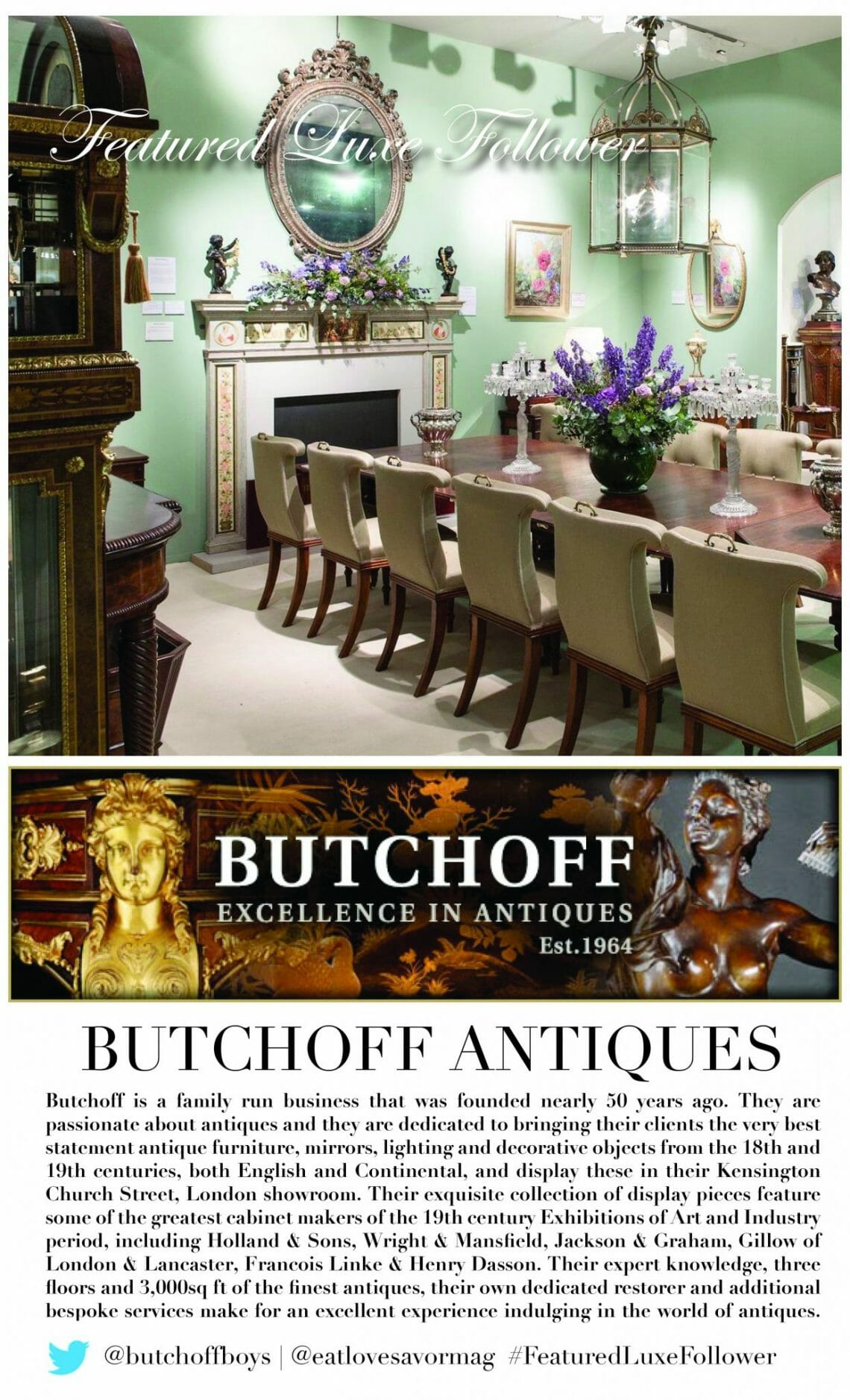 featured luxe follower jan 20 butchoff antiques #FeaturedLuxeFollower :: @ButchoffBoys - Butchoff Antiques - EAT LOVE SAVOR International luxury lifestyle magazine, bookazines & luxury community