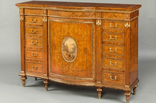 8000 Satinwood Cabinet firmly attributed to Wright Mansfield Decorative Motifs of the English Neoclassical Style - EAT LOVE SAVOR International luxury lifestyle magazine, bookazines & luxury community
