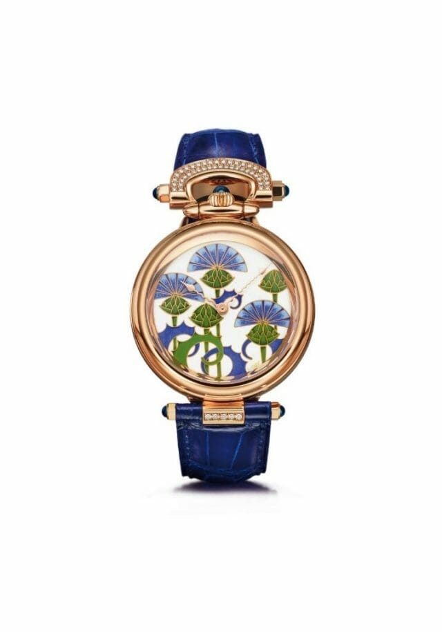 bovet blue burdocks white back Flowers and Fields Adorn Beautiful BOVET 1822 Timepieces - EAT LOVE SAVOR International luxury lifestyle magazine, bookazines & luxury community