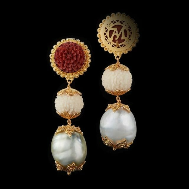 Alexandra Mor Tagua Seed Baroque perals and Carved Wooden Lotus Earrings AMEAR TAG006 Alexandra Mor Debuts First Of It's Kind Sustainable Haute Joaillerie - Tagua Seeds Capsule Jewelry Collection - EAT LOVE SAVOR International luxury lifestyle magazine, bookazines & luxury community