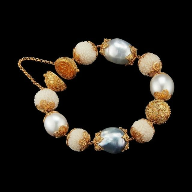 Alexandra Mor Tagua Seed baroque perals and 22 Karat Gold beads malla AMBRC TAG002 Alexandra Mor Debuts First Of It's Kind Sustainable Haute Joaillerie - Tagua Seeds Capsule Jewelry Collection - EAT LOVE SAVOR International luxury lifestyle magazine, bookazines & luxury community