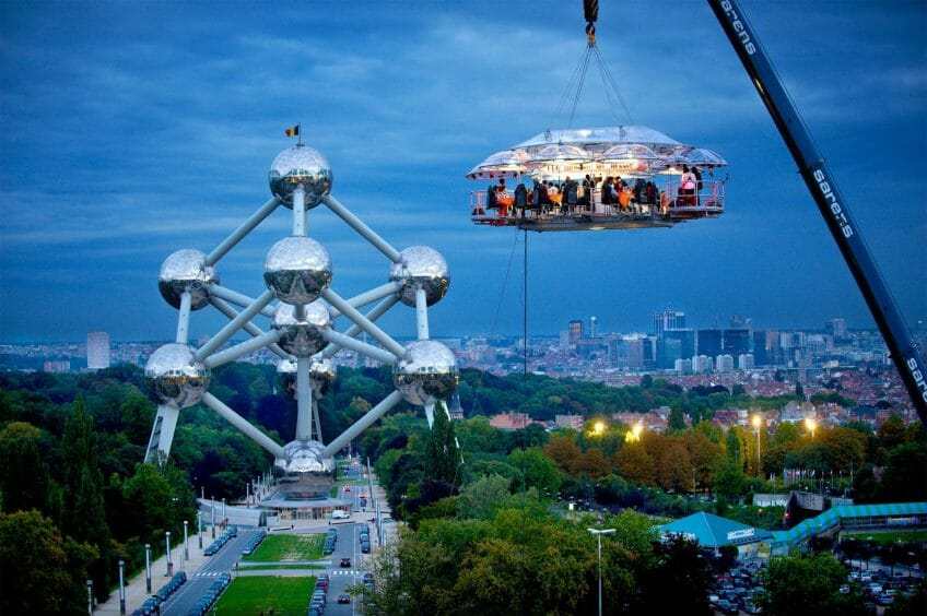 dinner in the sky dusk A Collision of Gastronomic Sparks 50m Above Monaco: Dinner in the Sky® - EAT LOVE SAVOR International Luxury Lifestyle Magazine