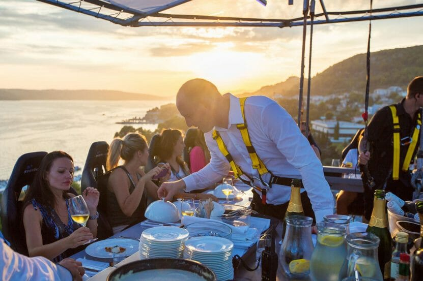 dinner in the sky sunset A Collision of Gastronomic Sparks 50m Above Monaco: Dinner in the Sky® - EAT LOVE SAVOR International luxury lifestyle magazine, bookazines & luxury community