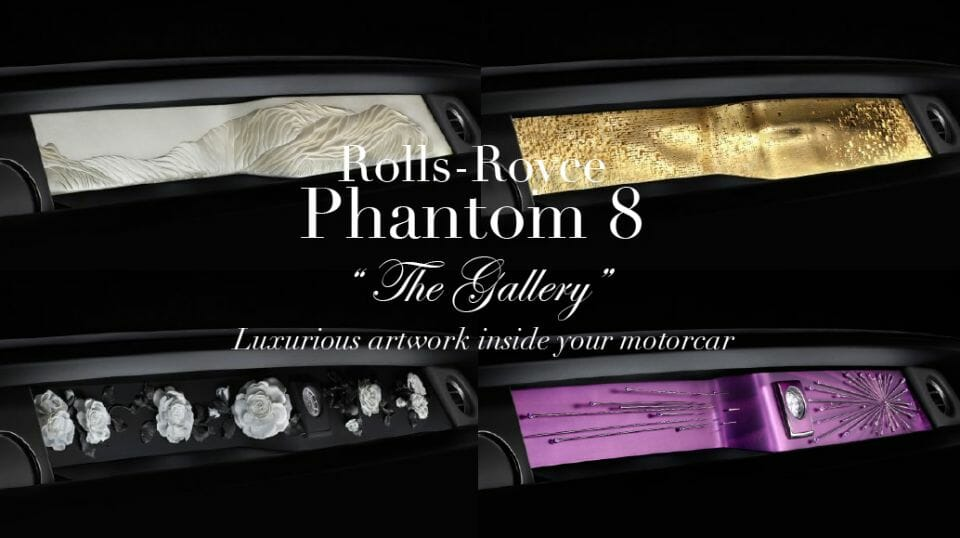 rolls royce the gallery collage The Rolls-Royce Phantom The Gallery, A Completely Unique Art Exhibition Space Within your Motor Car - EAT LOVE SAVOR International luxury lifestyle magazine and bookazines