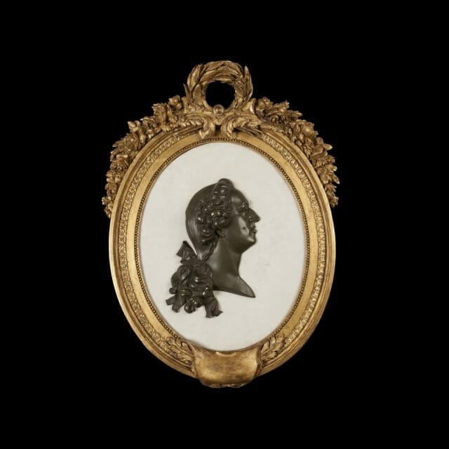Marble and Bronze Wall Cameo of Louis XVI, Giltwood and Marble Plaque
