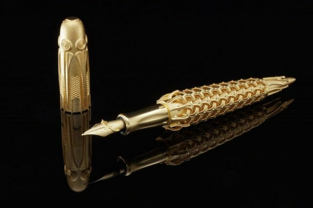 Pjotr SVgold BO fountain pen Inspired 3D Printed Limited Edition Solid Gold Fountain Pens and Nibs - EAT LOVE SAVOR International luxury lifestyle magazine and bookazines