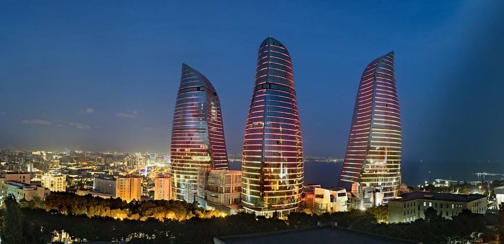 Flame Towers An Homage to Culture With A Cinematic Flow: The Baku Flame Towers In Azerbaijan - EAT LOVE SAVOR International luxury lifestyle magazine, bookazines & luxury community