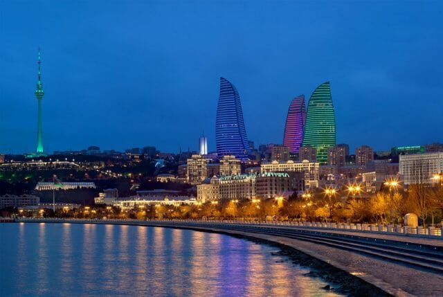 Panorama Night Colour 1 An Homage to Culture With A Cinematic Flow: The Baku Flame Towers In Azerbaijan - EAT LOVE SAVOR International luxury lifestyle magazine, bookazines & luxury community