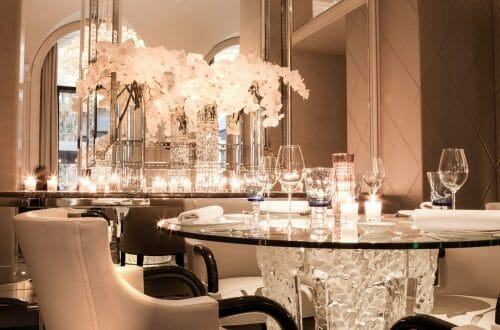 Restaurant Le George V Lalique detail verre ©Eddy Briere HD preview LALIQUE Interior Design Studio Bespoke Luxury Architectural Projects in Tokyo and Paris - EAT LOVE SAVOR International luxury lifestyle magazine, bookazines & luxury community