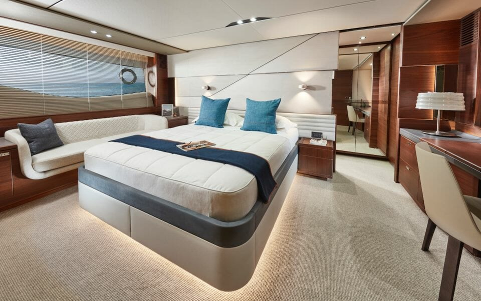 princess S78 master statesroom Princess Yachts On The Crest Of A Wave As Orders Exceed $1 Billion (£. Billion) For First Time In 53-Year History - EAT LOVE SAVOR International Luxury Lifestyle Magazine