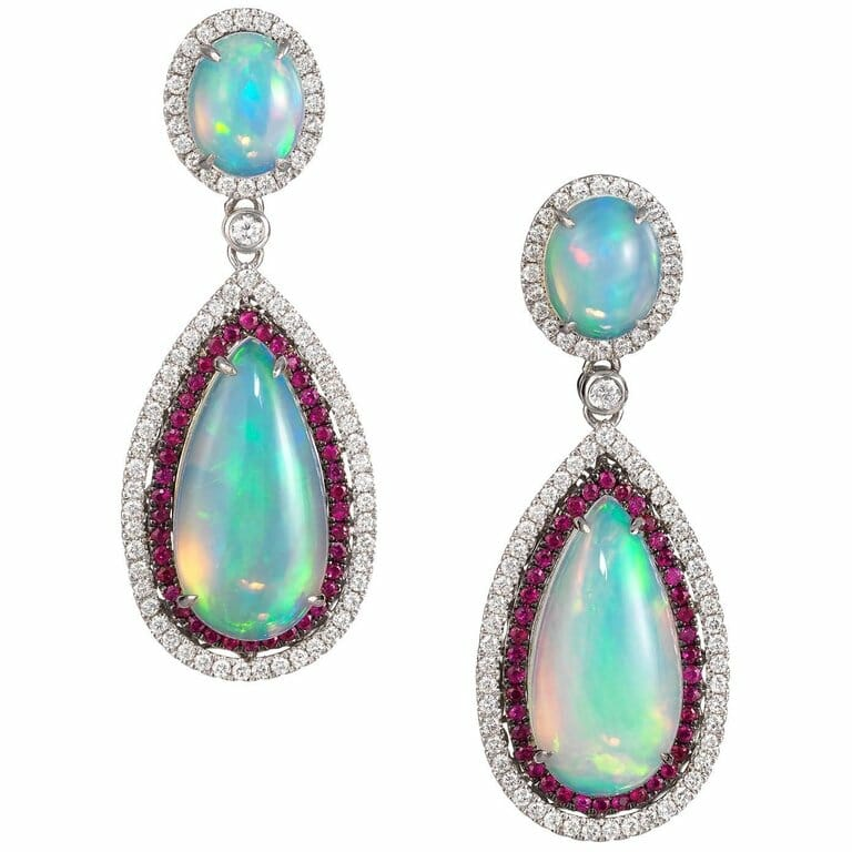 Dvani Gold Opal Diamond and Ruby Earrings Gemstone Edit: Opals: Precious Stones Ablaze with Color - EAT LOVE SAVOR International luxury lifestyle magazine and bookazines