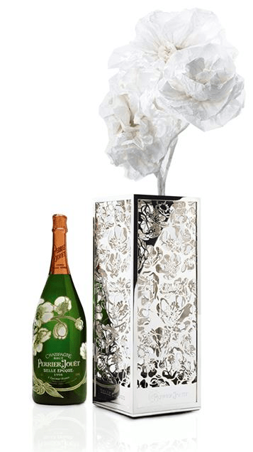 Perrier Jouet belle epoque magnum and anemone vase Lovely Luxury Gifts for Her - EAT LOVE SAVOR International luxury lifestyle magazine and bookazines