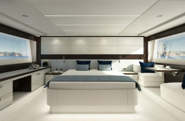 sunseeker sport yacht 74 interior bedroom 74 pred master wenge grey 0000 1280x840 Sunseeker Line Up for the Cannes Yachting Festival 2018 - EAT LOVE SAVOR International Luxury Lifestyle Magazine