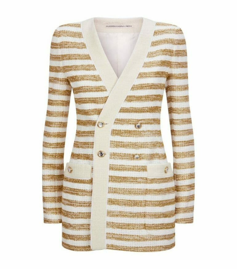 harrods metallic stripe knit jacket 000000006263195004 Style Edit - Out of Winter and into Spring Jackets - EAT LOVE SAVOR International luxury lifestyle magazine, bookazines & luxury community