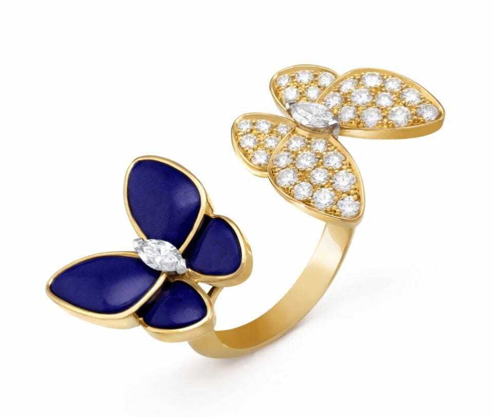 two butterfly lapis ring van cleef arpels Beautiful Things: Van Cleef & Arpels Fine Jewelry Two Butterfly Collection - EAT LOVE SAVOR International luxury lifestyle magazine, bookazines & luxury community