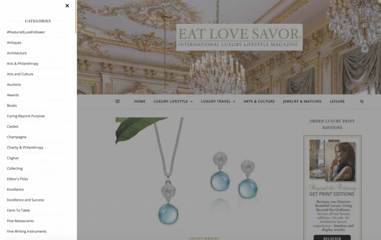 screenshot categories Announcing the Relaunch of our Luxury Lifestyle Magazine Website - EAT LOVE SAVOR International luxury lifestyle magazine and bookazines