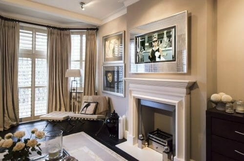 Overmantels tv No EG2 denmeade TV ON Gazing Through the Looking Glass: Discover Overmantels Made-to-Measure Television Mirrors - EAT LOVE SAVOR International luxury lifestyle magazine and bookazines