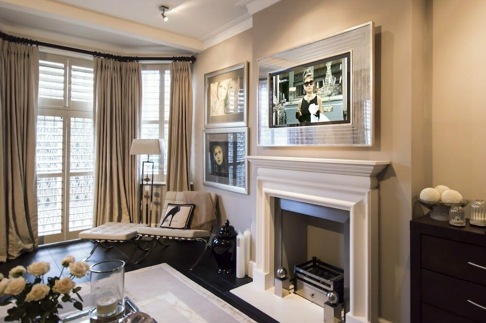 Overmantels tv No EG2 denmeade TV ON Gazing Through the Looking Glass: Discover Overmantels Made-to-Measure Television Mirrors - EAT LOVE SAVOR International luxury lifestyle magazine, bookazines & luxury community