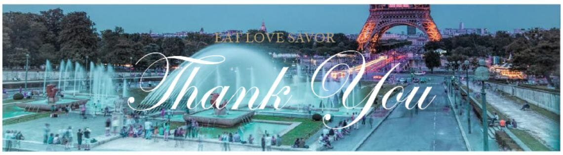 thank you Confirmation & Completion - EAT LOVE SAVOR International luxury lifestyle magazine and bookazines