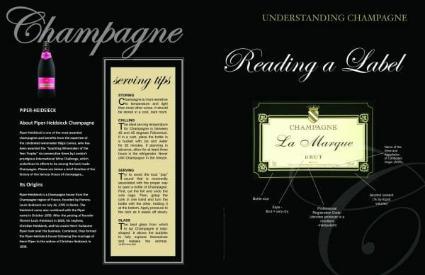 2 page spread reading a label Issue CHAMPAGNE 2017 scaled Digital Edition #1 - Champagne - EAT LOVE SAVOR International luxury lifestyle magazine, bookazines & luxury community