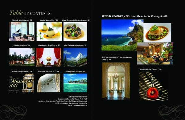 table of contents Delectable issue scaled Digital Edition #5 - Travel & Escape - EAT LOVE SAVOR International luxury lifestyle magazine, bookazines & luxury community