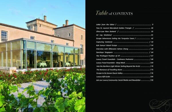 table of contents travel and escape scaled Travel & Escape Special Edition Print Luxury Bookazine - EAT LOVE SAVOR International Luxury Lifestyle Magazine
