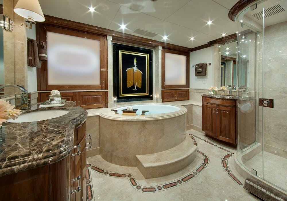Marble bathrooms with luxury amenities Lush escapes to the Bahamas in style with luxury yacht Remember When - EAT LOVE SAVOR International luxury lifestyle magazine, bookazines & luxury community