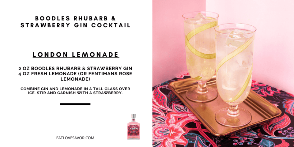 boodles london lemonade Discover Boodles Rhubarb and Strawberry Gin and Cocktail Recipes - EAT LOVE SAVOR International luxury lifestyle magazine, bookazines & luxury community