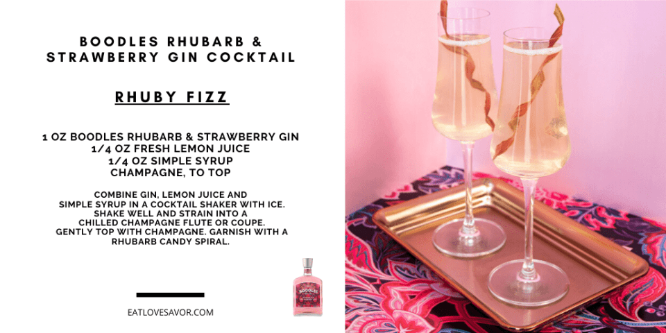 boodles rhubarb fizz Discover Boodles Rhubarb and Strawberry Gin and Cocktail Recipes - EAT LOVE SAVOR International Luxury Lifestyle Magazine
