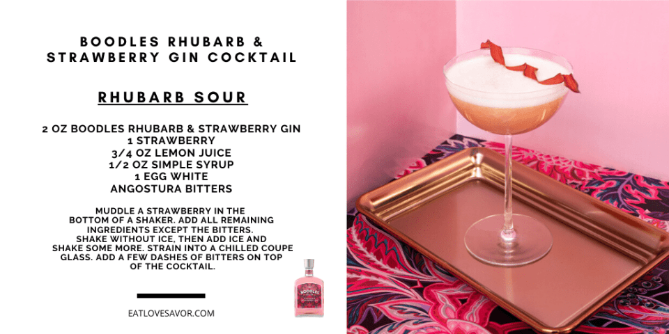 boodles rhubarb sour Discover Boodles Rhubarb and Strawberry Gin and Cocktail Recipes - EAT LOVE SAVOR International Luxury Lifestyle Magazine