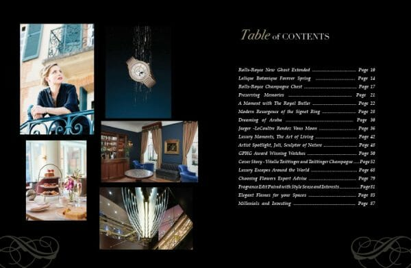 edition 8 toc Digital Edition #8 - Ode to the Art of Living - EAT LOVE SAVOR International Luxury Lifestyle Magazine
