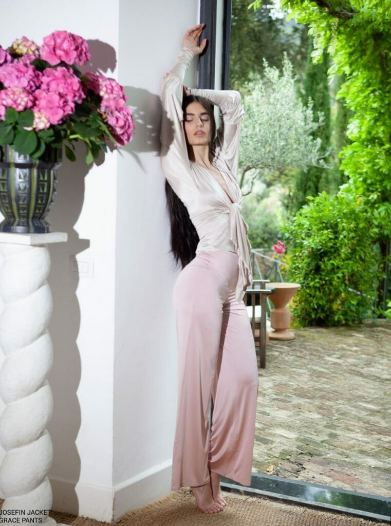 """chambressweden Josefin jacket GRACE PANTS Elegance, Versatility and Stylishly Comfortable Fashion for a New World, Wear """"Loungerie""""by ChambresSweden - EAT LOVE SAVOR International luxury lifestyle magazine and bookazines"""