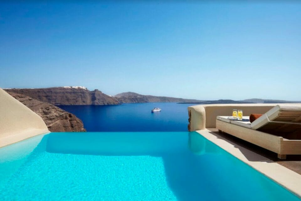 Mystique Hotel mystery villa pool Discover the Ultimate Greek Escape for 2021: MYSTIQUE, a Luxury Collection Hotel Cut into an Extraordinary Sea Side Landscape - EAT LOVE SAVOR International Luxury Lifestyle Magazine