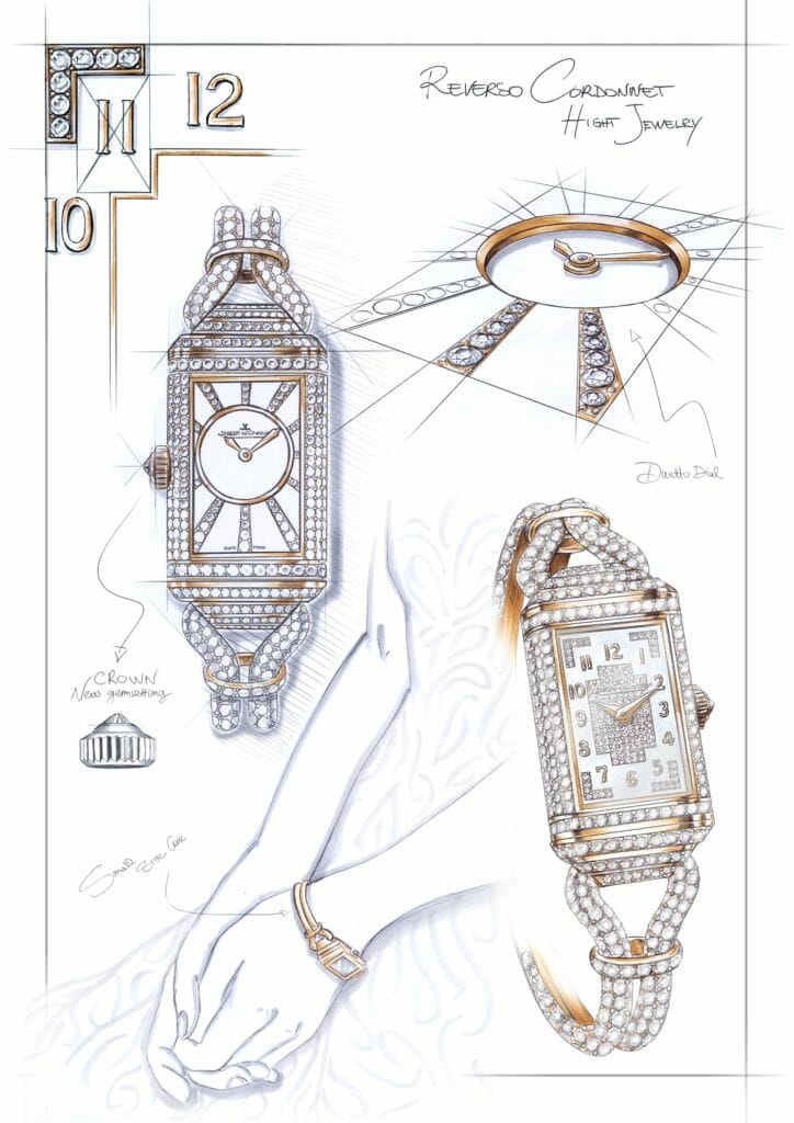 jlc reverso one cordonnet jewellery q3372301 drawing Jaeger-LeCoultre presents the Reverso One Cordonnet Jewellery - Shining the spotlight on the exceptional gem-setting skills of the atelier des Métiers Rares® - EAT LOVE SAVOR International Luxury Lifestyle Magazine