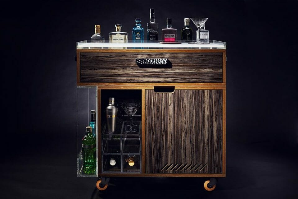 GIN TROLLEY FRONT ELEVATION Discover the Gin Trolley by QUENCH - EAT LOVE SAVOR International Luxury Lifestyle Magazine