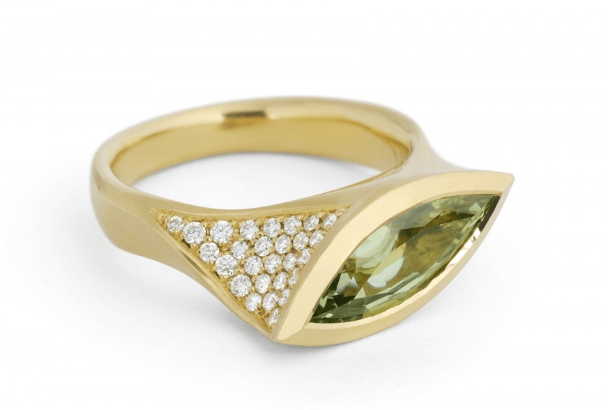 mcaull Asymmetric 18 carat gold and marquise green diamond ring Discover: Sophisticated and Exceptional Cocktail Rings from Fine jewellers McCaul Goldsmiths - EAT LOVE SAVOR International luxury lifestyle magazine and bookazines
